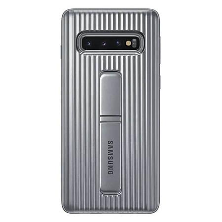 Etui do Samsung Galaxy S10 srebrne z podstawką