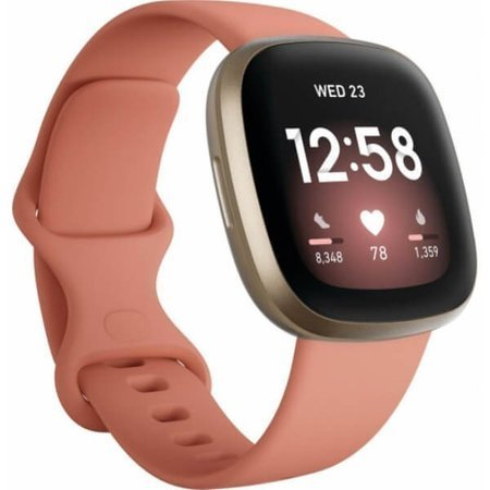 FITBIT Versa 3, Pale Yellow Gold/Pink Clay
