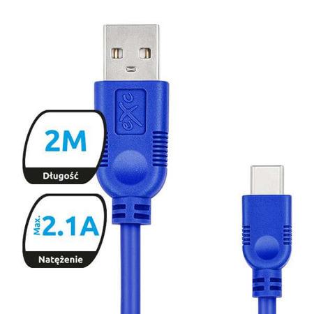 Kabel USB-USB typ C eXc WHIPPY 2m granatowy