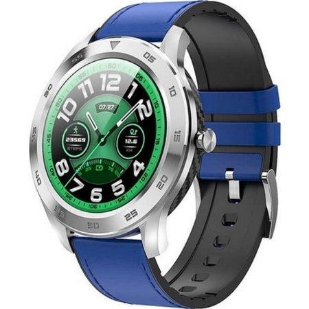 Zegarek - Smartwatch Garett GT22S niebieski ze skórzanym paskiem