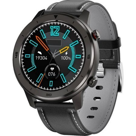 Zegarek - Smartwatch Męski Garett Men 5S czarny z skórzanym paskiem