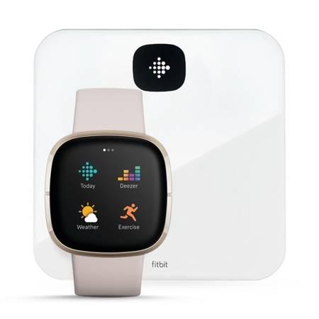 Zestaw: Smartwatch Fitbit Sense beżowo - złoty + Inteligentna Waga Fitbit Aria Air